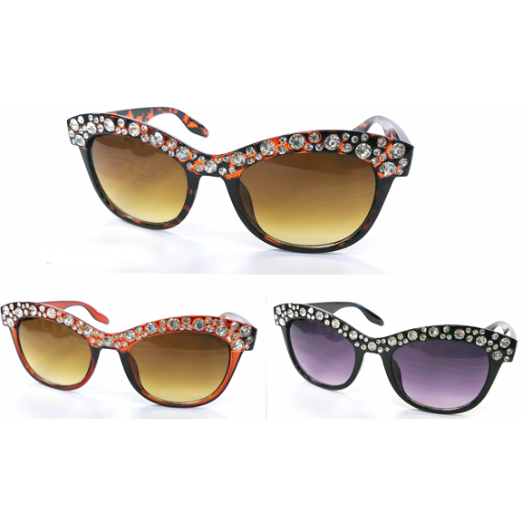 RHINESTONE COVERED TO COOL SUNGLASSES BLACK & TORTOISE